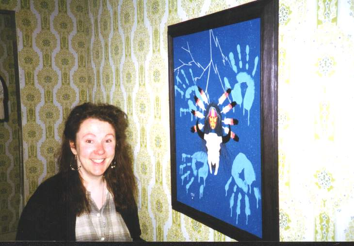 Jerald's penpal, Jacqueline Walsh, with another of his paintings